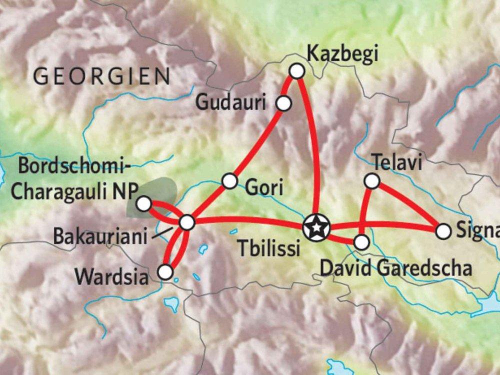 178Y31002 Georgien Wanderreise im Kaukasus Karte