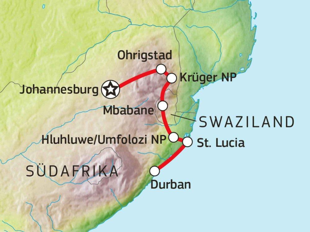 155Y00003 Südafrika - Highlights des Nordens Karte