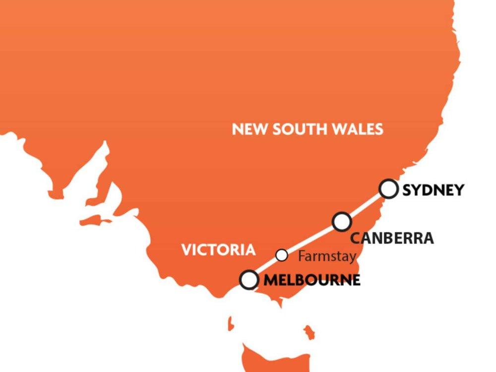 102A10031 Hinterlandtour von Melbourne nach Sydney Karte