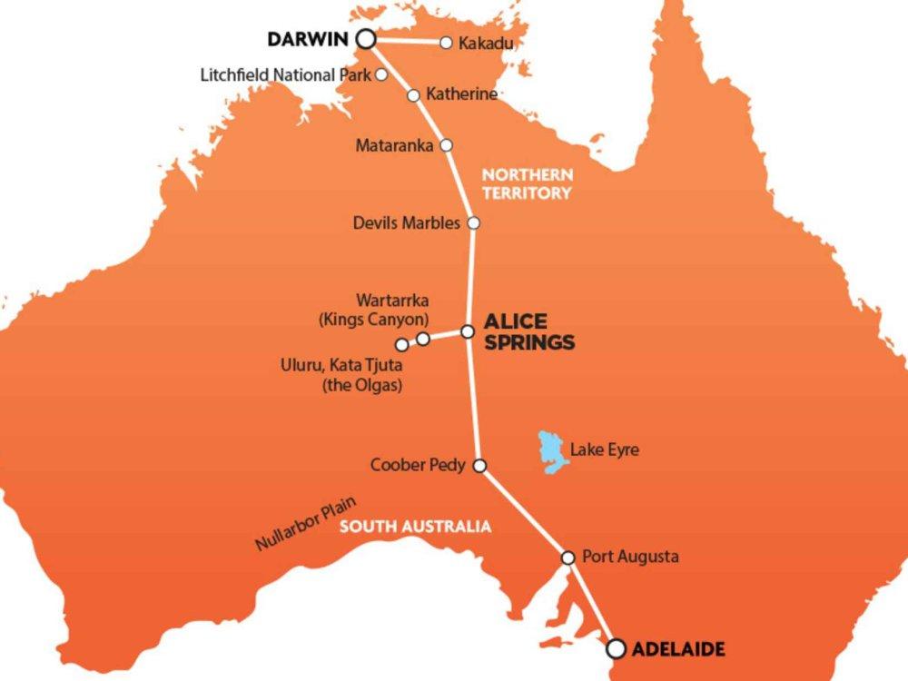 102A10070 Darwin - Adelaide Package inkl. Uluru & Kakadu Karte