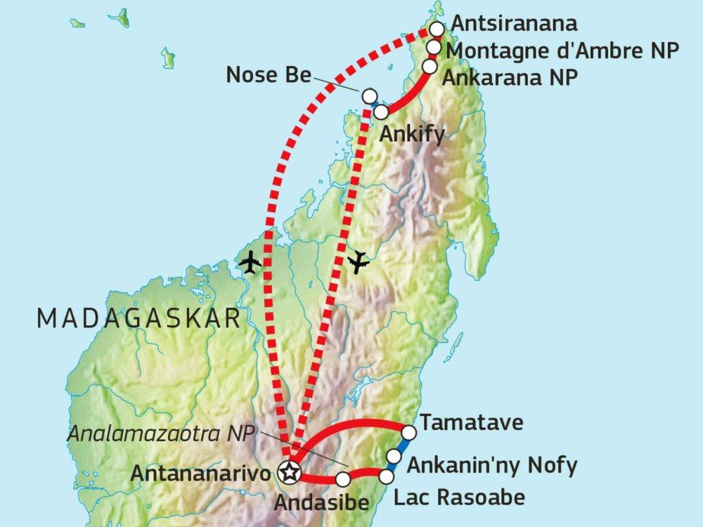 119Y82008 Madagaskar - Indris, Tsingys & Traumstrände Karte