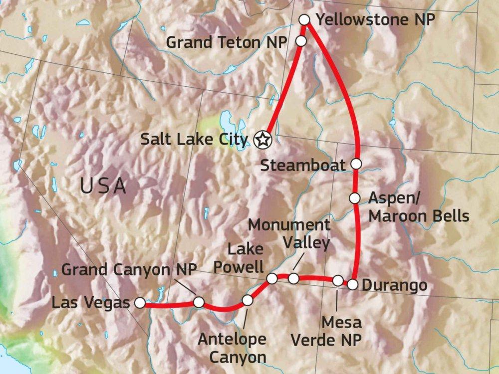 187W11024 Vom Yellowstone zum Grand Canyon Karte