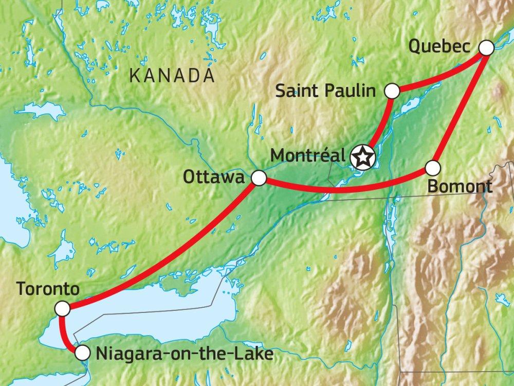 Québec und Ontario kulinarisch entdecken Karte
