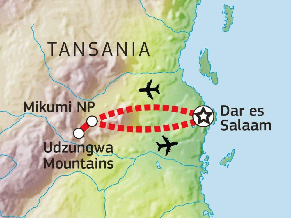 143Y10003 Mikumi & Udzungwa Mountains Safari Karte