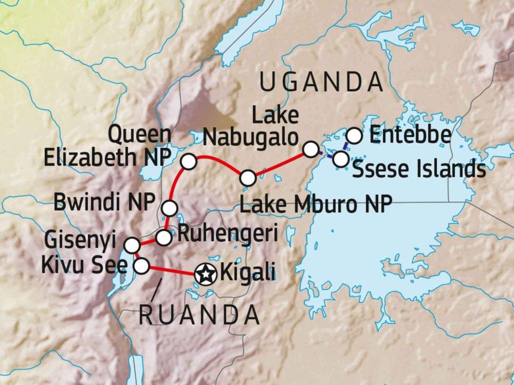 196Y40020 Mit dem Fahrrad von Ruanda nach Uganda Karte