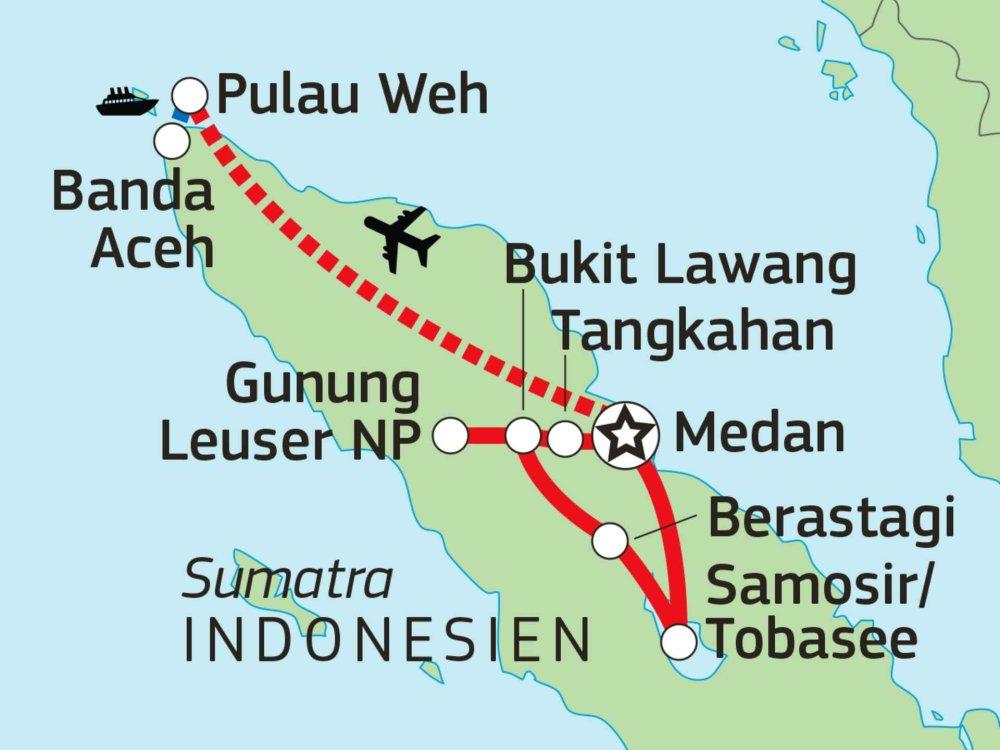 124Y21060 Abenteuer Nord-Sumatra & Traumstrände auf Pulau Weh Karte