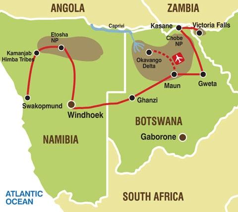 138G20004 Erlebnis Wüste & Okavango Karte