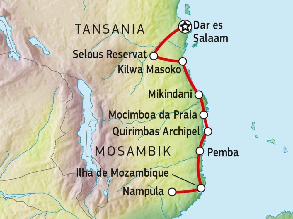 140R31003 Südtansania & Nördliches Mosambik Karte
