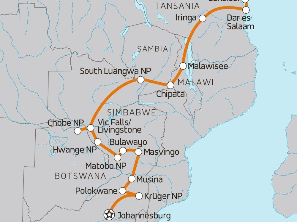 Abenteuerreise von Südafrika nach Sansibar Karte