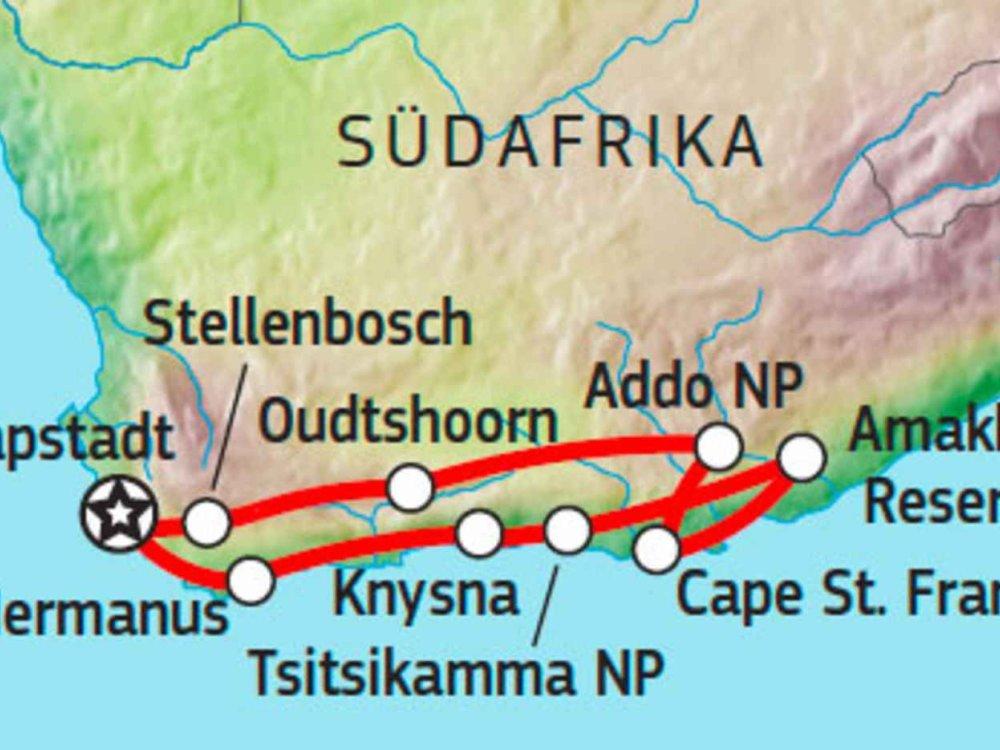 155Y10300 Garden Route Selbstfahrerreise Karte