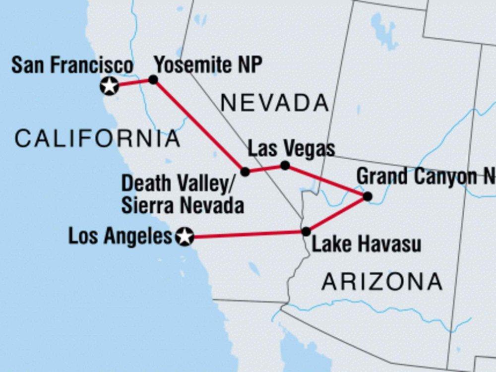 131Y21159 Erlebnistour von LA nach San Francisco Karte