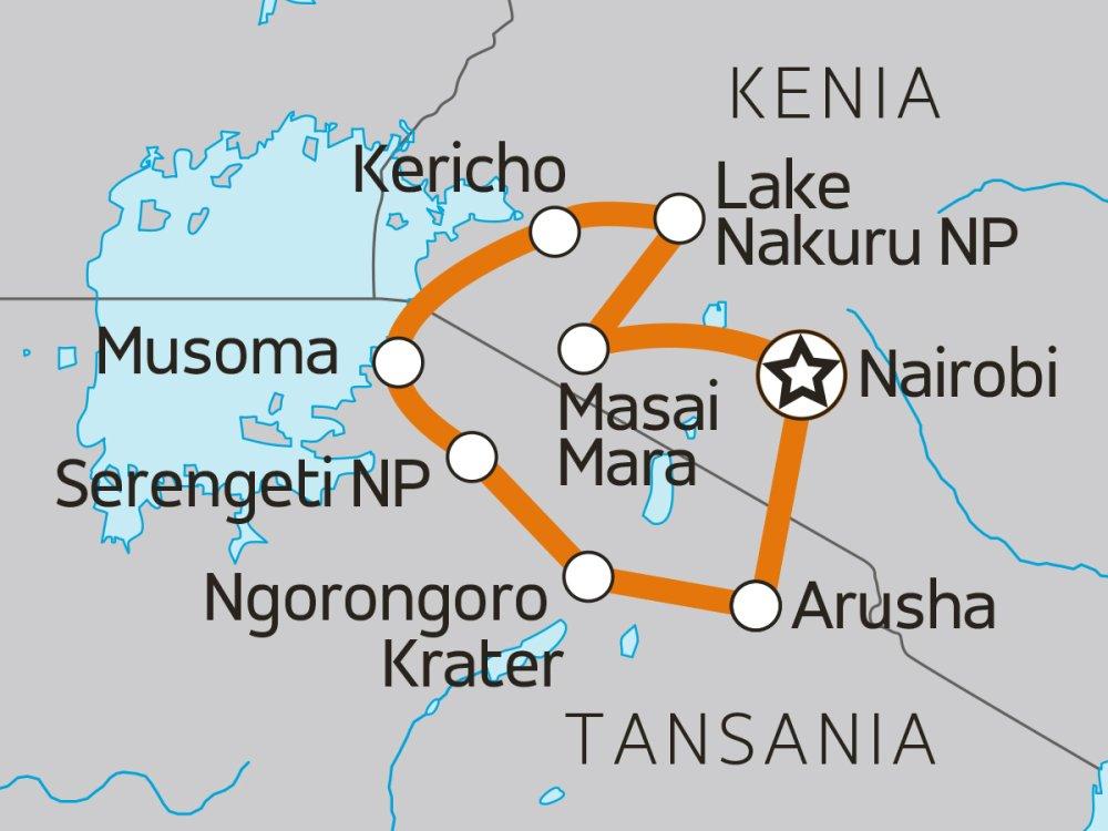 Camping Safari Kenia und Tansania Karte
