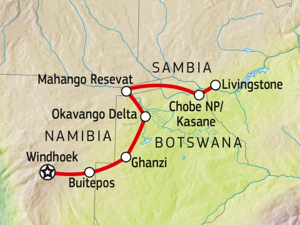 106Y21006 Okavango Delta, Caprivi & Vic Falls Karte