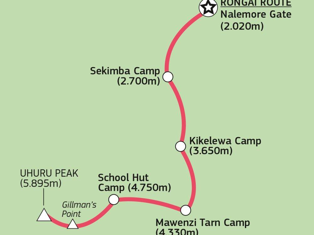 Kilimandscharo Rongai Route Karte