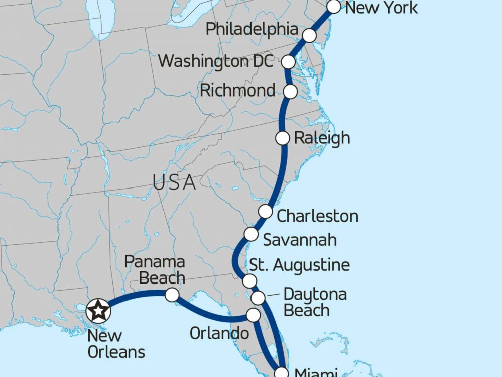 174Y10031 Ostküste der USA - Von New Orleans bis New York Karte