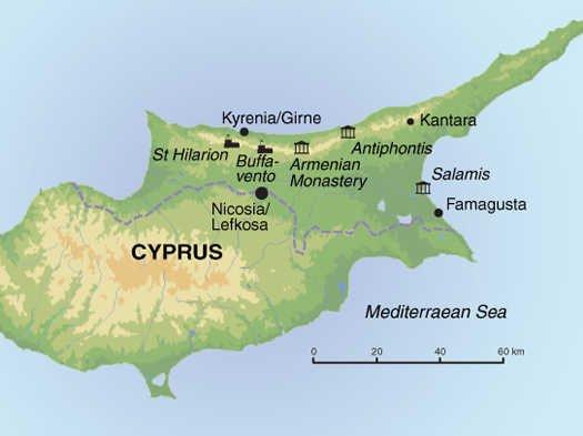 Wandern in Nordzypern Karte