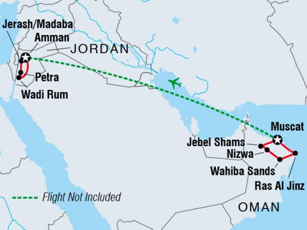 122Y40219 Faszination Oman und Jordanien Karte
