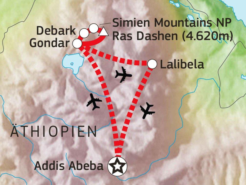 192Y10001 Simien Mountains & Besteigung des Ras Dashen Karte
