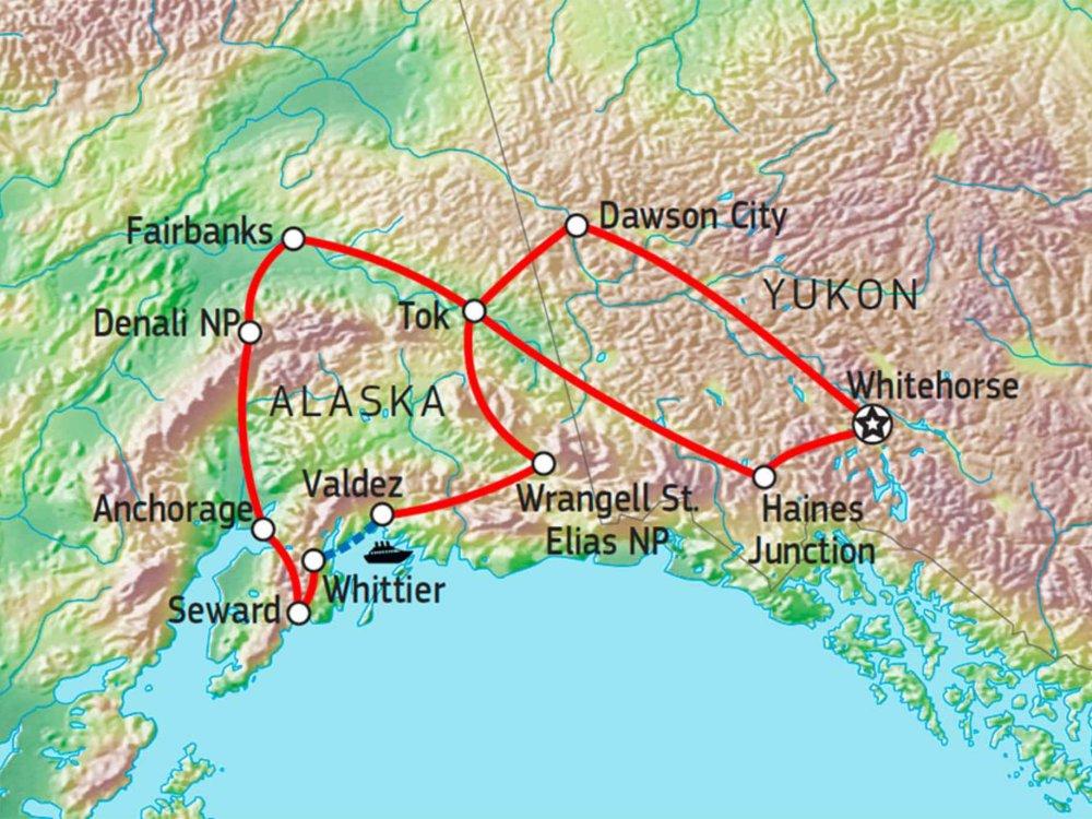 Höhepunkte von Yukon & Alaska Karte