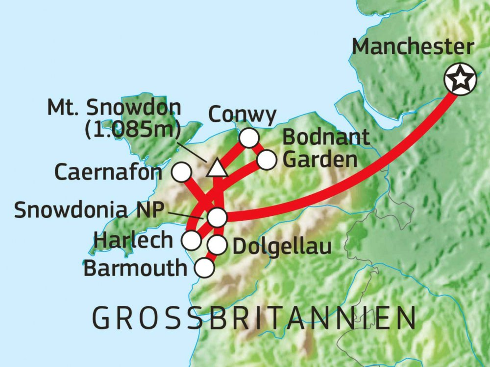 123B30008 Wandern & Kultur in Nordwales Karte