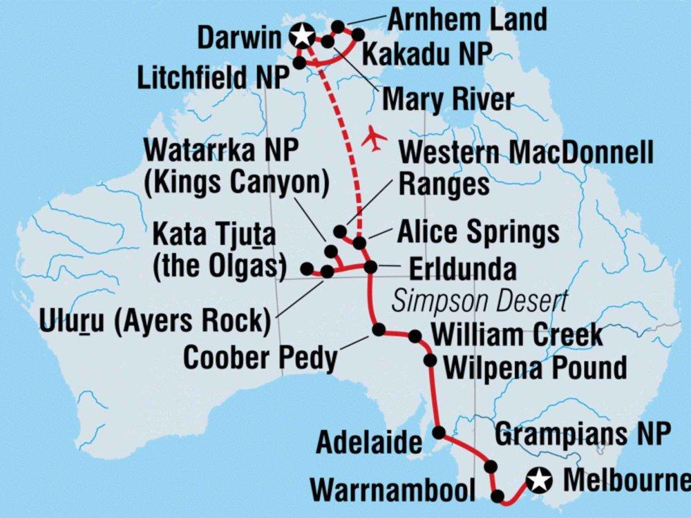 104Y20014 Erlebnisreise von Melbourne nach Darwin Karte