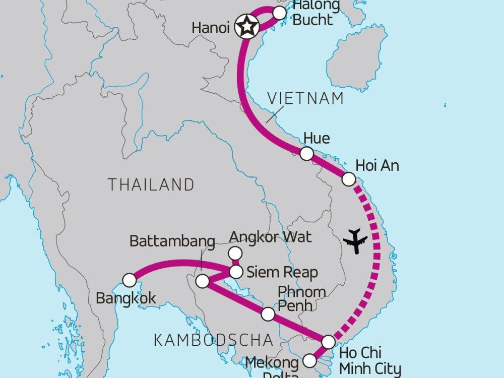 Best of Vietnam und Kambodscha Karte