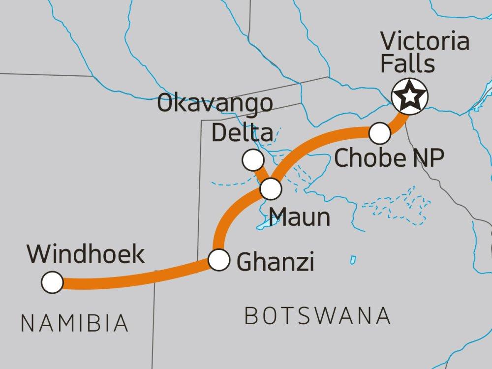 Vic Falls, Chobe & Okavango Delta Karte
