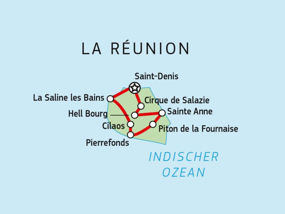 Reunion Immergrünes Insel Paradies Karte