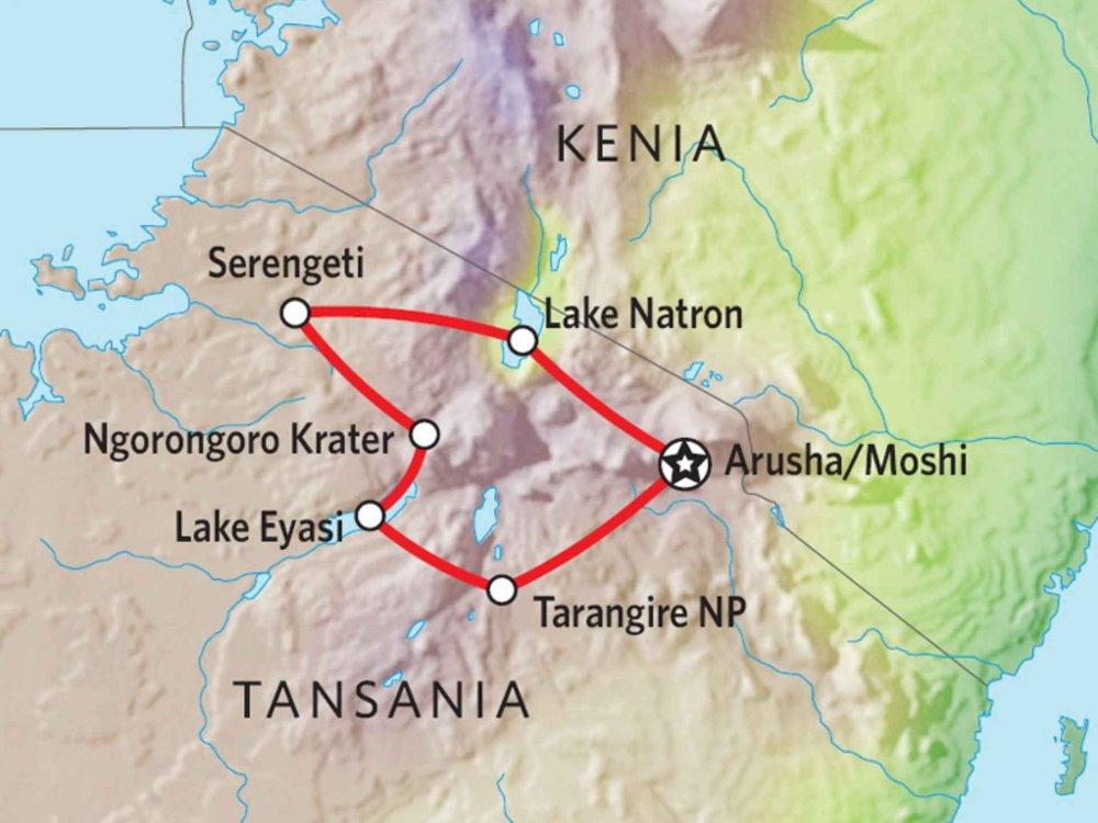 142Y10015 Tansania Abenteuer Safari mit Komfort VI Karte