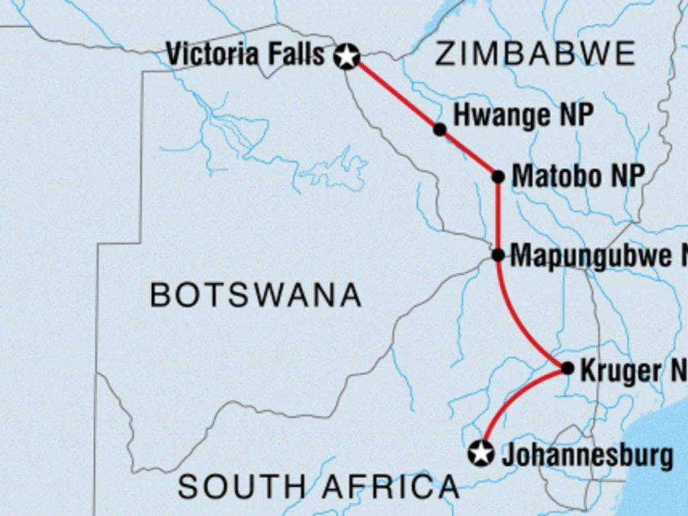 131Y21163 Wildlife pur - Krüger, Simbabwe & Vic Falls Karte