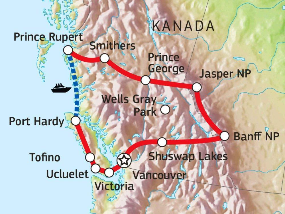 160A10003 Westkanada - Urlaub machen wie die Kanadier Karte