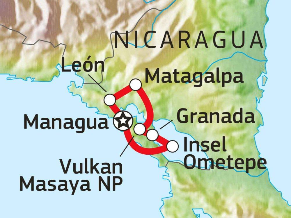 198Y31009 Nicaragua Entdeckertour Karte