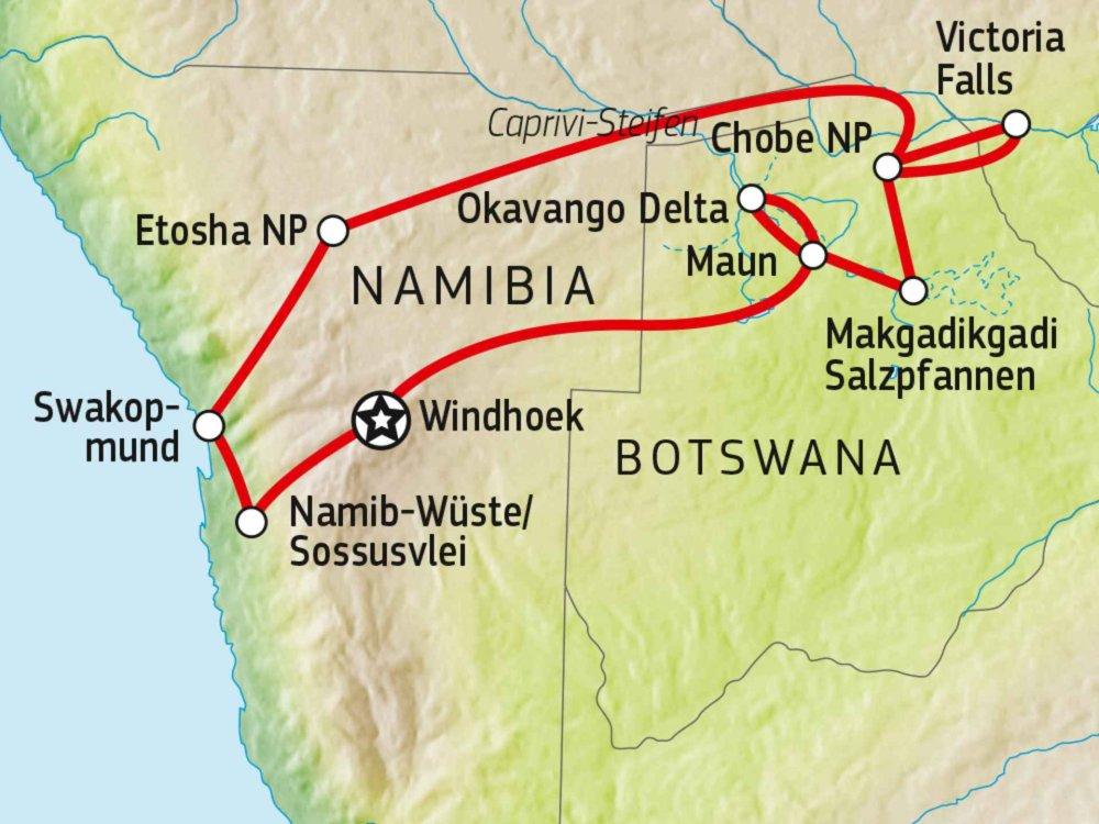 156T00008 Selbstfahrerreise durch Namibia und Botswana Karte