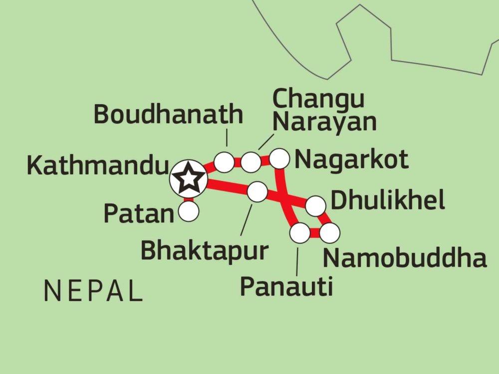 161Y30025 Kultur & Natur im Kathmandu-Tal Karte