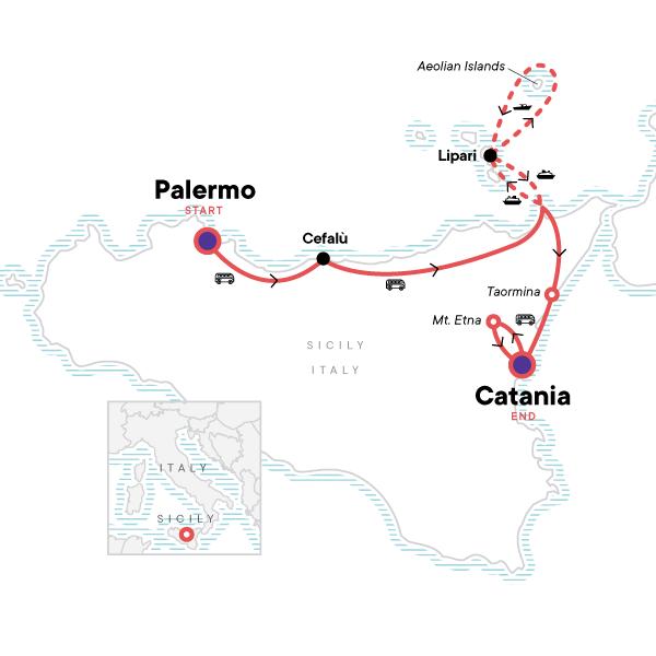 Karte Sizilien Norden - Vulkane und Inseln