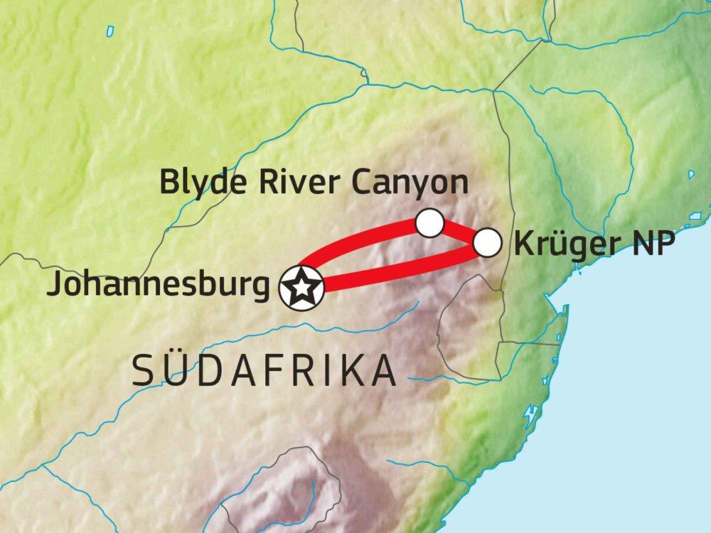 155Y20007 Krüger Nationalpark Lodge Safari III Karte