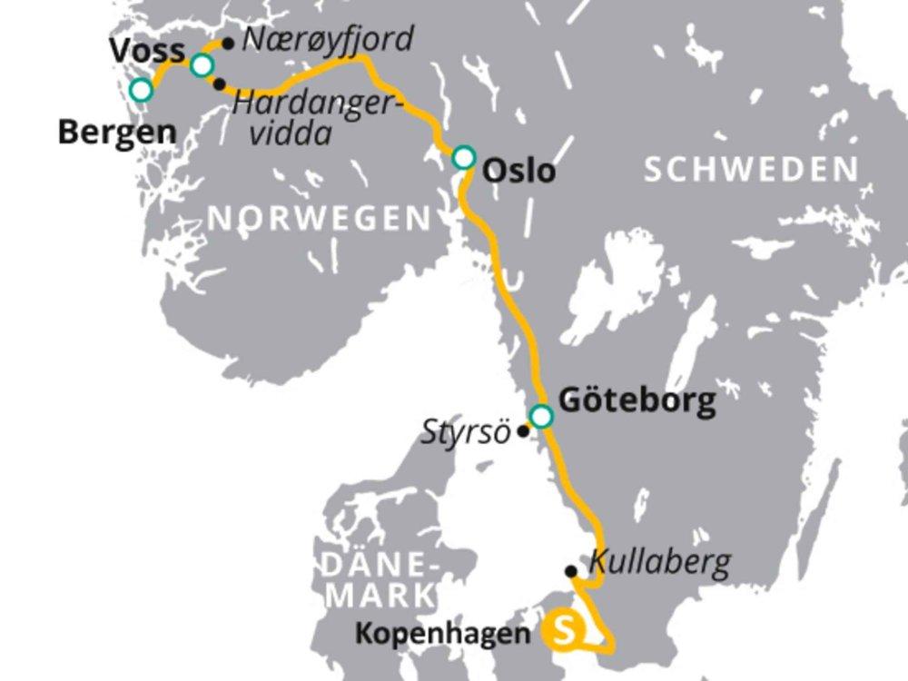123H10027 Natur & Kultur des Nordens - von Dänemark nach Norwegen Karte