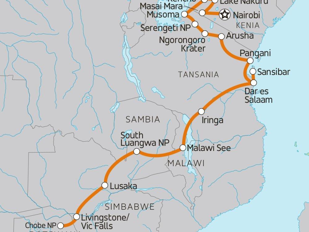 Abenteuerreise von Kenia über Tansania nach Sambia Karte