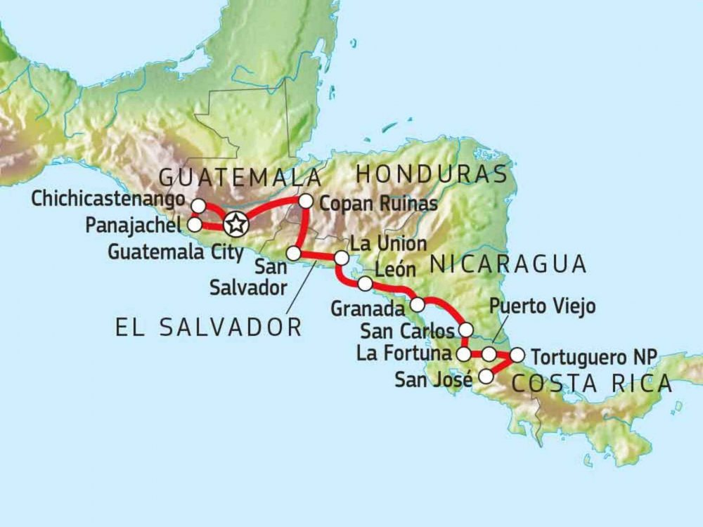 121Y10030 Versteckte Juwele Mittelamerikas Karte