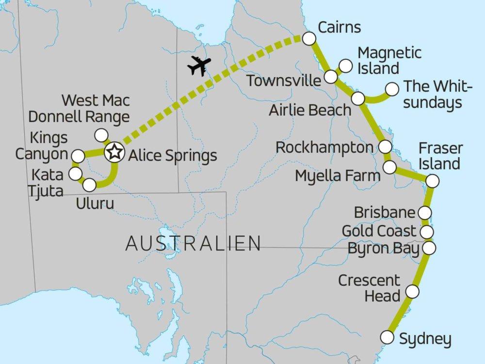 117Y10061 Australiens Rotes Zentrum und sonnige Ostküste Karte