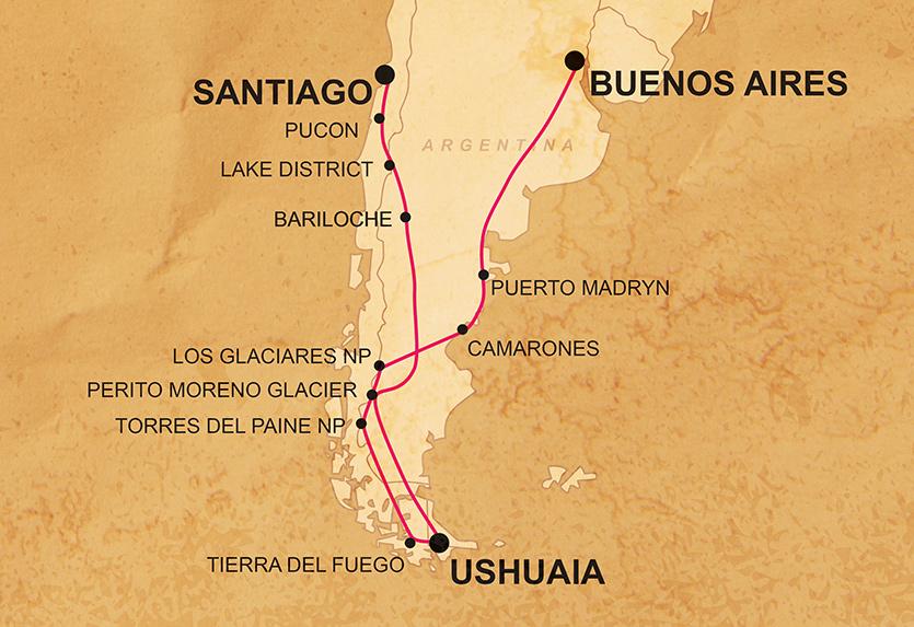 Patagonien Argentinien Overland Karte