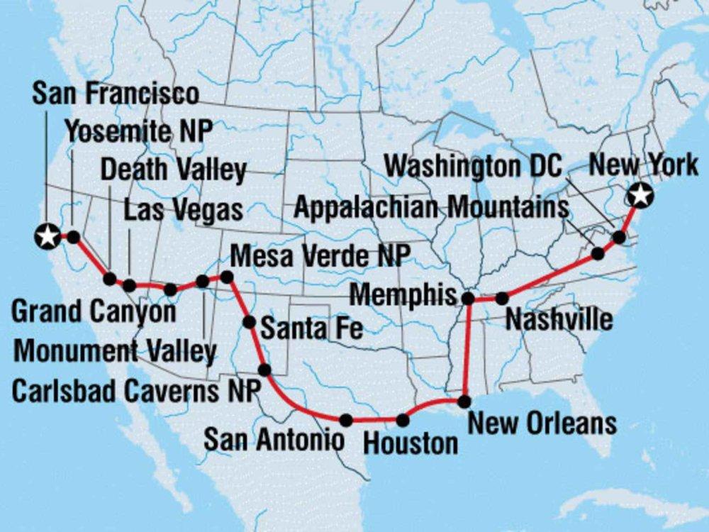 122Y22025 Roadtrip von San Francisco nach New York Karte
