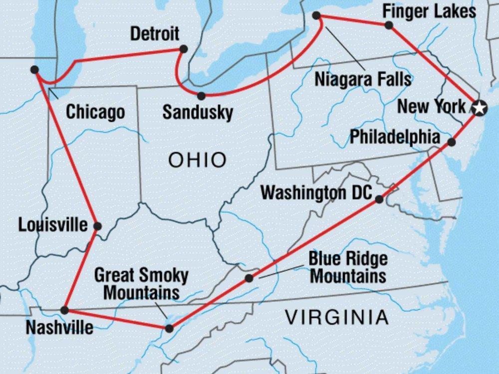 122Y60433 Abenteuerreise im Osten der USA Karte