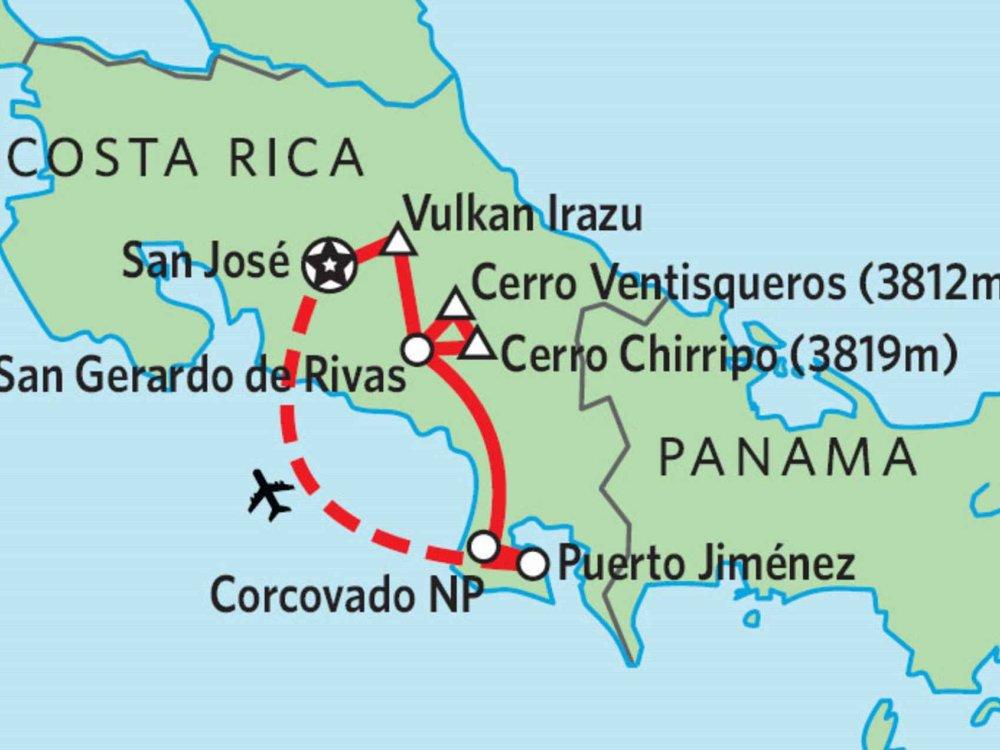 198Y30002 Trekkinghöhepunkte Costa Ricas Karte