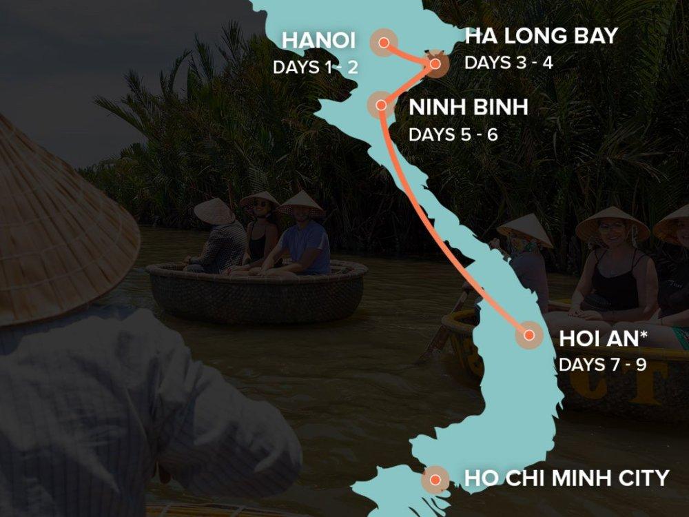 Vietnamintro zwischen Hanoi und Saigon Karte