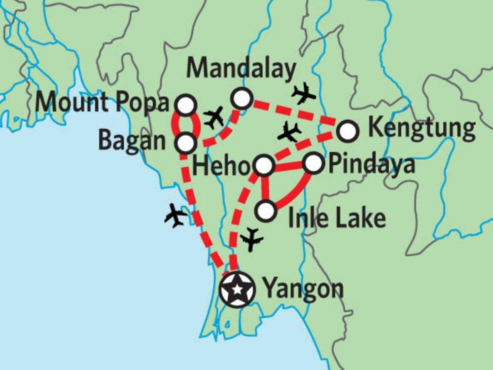 151Y10100 Myanmar Wanderreise Karte