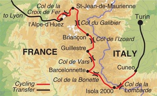 Alpenpässe Tour de France Karte