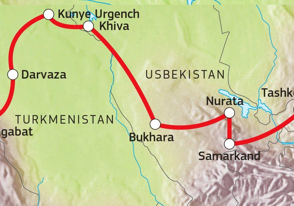 Von Usbekistan nach Turkmenistan Karte