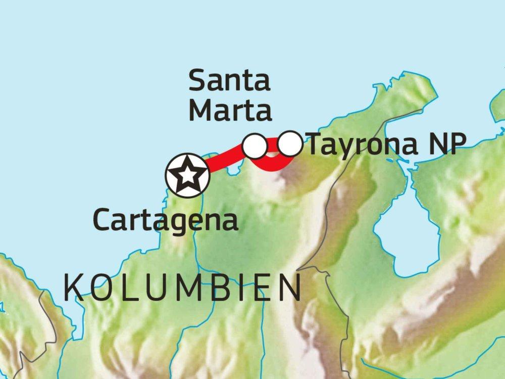 198Y30067 Kolumbiens Küste erfahren - von Santa Marta nach Cartagena Karte