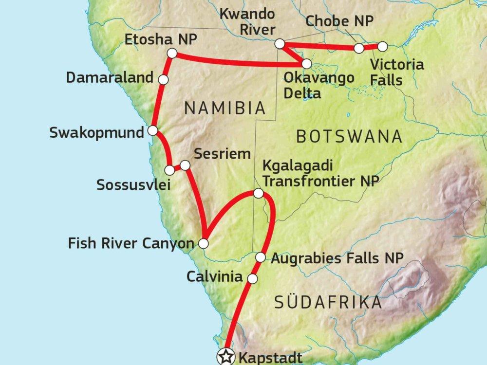 184Y10008 Kalahari Wüsten Abenteuerreise Karte